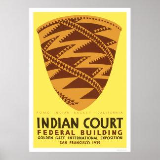 Pomo Indian Basket 1939 WPA Poster