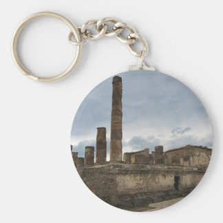 Pompeii - The remaining columns of ancient temple Basic Round Button Key Ring