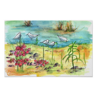 Pond Bird Poster Watercolor Painting Nature Art