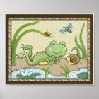 Pond Friends, Wiggle Bugs, Frog Nursery Art Poster