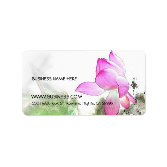POND LOTUS l Chinese Brush Painting Art Address Label