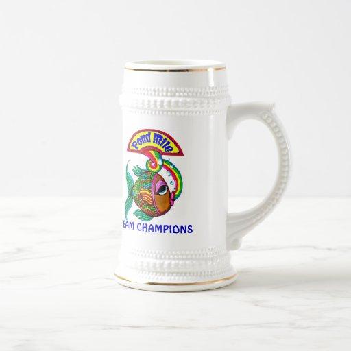 Pond Mile 4 Team Champions Logo Beer Stein Mugs