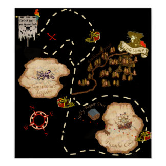 Pond Mile Treasure Map Poster