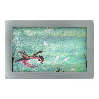 POND SPLASHING RECTANGULAR BELT BUCKLE