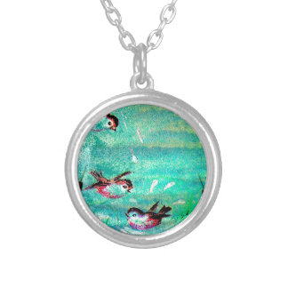 POND SPLASHING SILVER PLATED NECKLACE