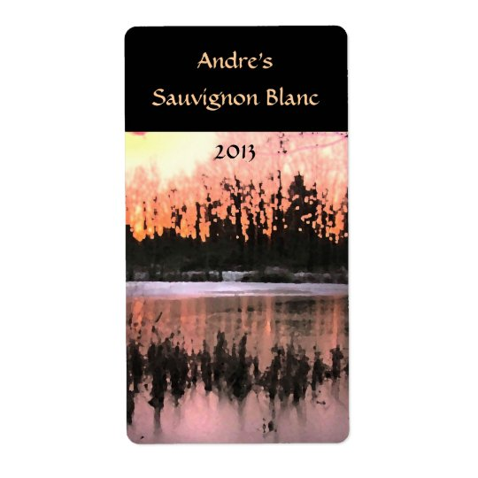 Pond Sunset Wine Label Shipping Label