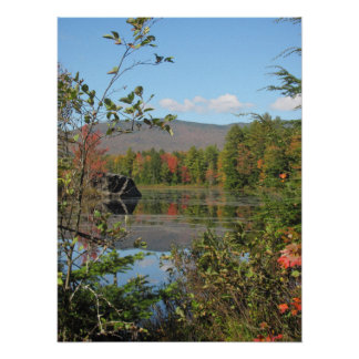 pond view in the fall poster