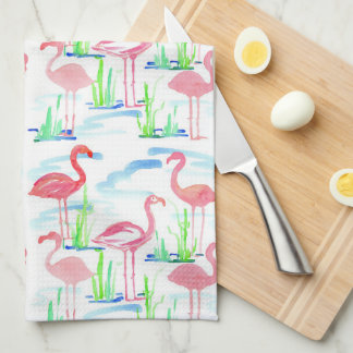 Pond Watercolor Flamingos Tea Towel