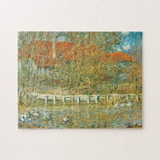 Pond with Ducks in Autumn Monet Fine Art Jigsaw Puzzle