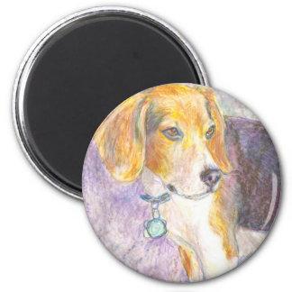 Pondering Pup 6 Cm Round Magnet