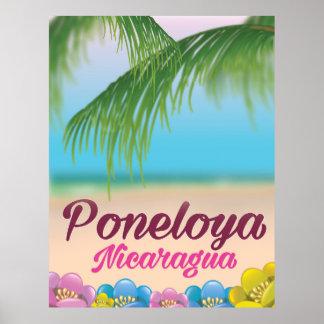 Poneloya nicaragua beach travel poster
