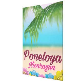 Poneloya nicaragua beach travel poster canvas print