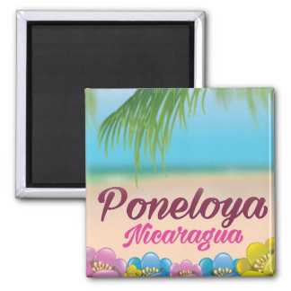Poneloya nicaragua beach travel poster magnet