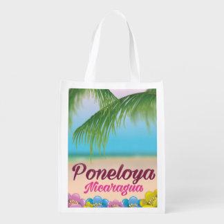 Poneloya nicaragua beach travel poster reusable grocery bag