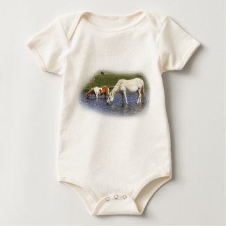 Ponies At Watering Hole infant organic creeper