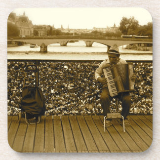 Pont de l'Archeveche: The Love Lock Bridge, Paris Beverage Coaster
