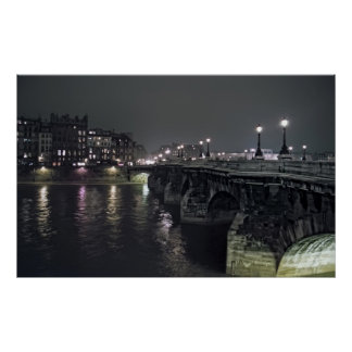 PONT NEUF BRIDGE at NIGHT - PARIS FRANCE Poster
