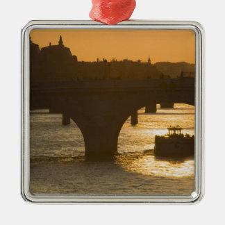 Pont Neuf, Seine, sunset, Paris, FranceMusee Silver-Colored Square Decoration
