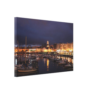 Ponta Delgada at night Canvas Print