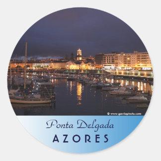 Ponta Delgada at night Classic Round Sticker