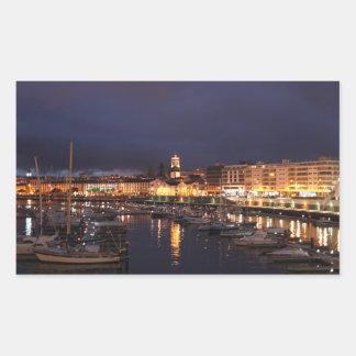 Ponta Delgada at night Rectangular Sticker