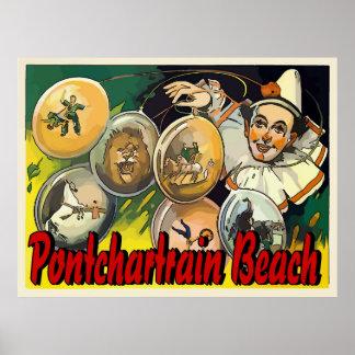 Pontchartrain Beach Clown Acts Vintage Sign Poster