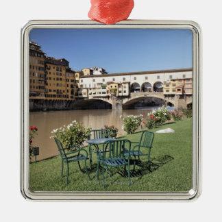 Ponte Vecchio and table along Arno Rive Metal Ornament