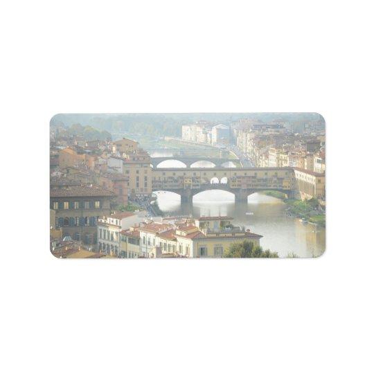 Ponte Vecchio Old Bridge Florence Italy Address Label