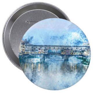 Ponte Vecchio on the river Arno in Florence, Italy 10 Cm Round Badge