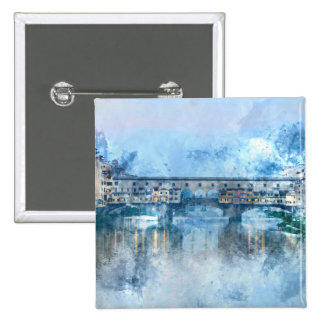 Ponte Vecchio on the river Arno in Florence, Italy 15 Cm Square Badge