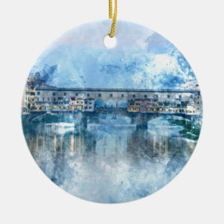 Ponte Vecchio on the river Arno in Florence, Italy Ceramic Ornament