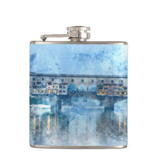 Ponte Vecchio on the river Arno in Florence, Italy Flasks