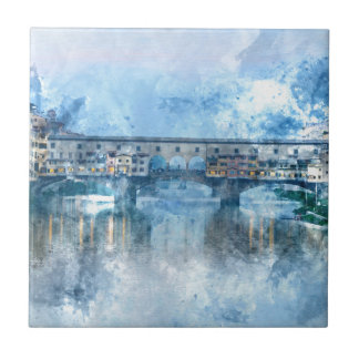 Ponte Vecchio on the river Arno in Florence, Italy Tile