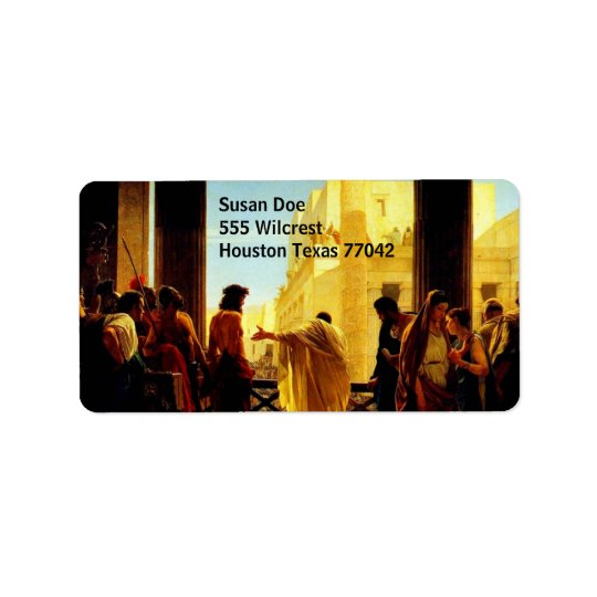 Pontius Pilate presenting a scourged Jesus Label