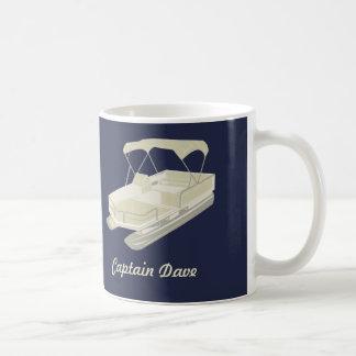 Pontoon Boat Personalized Coffee Mug Navy Blue