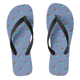 Pontoon Boats Colorful Blue Flip Flops