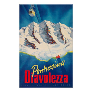 Pontresina Diavolezza Switzerland Vintage Travel Poster