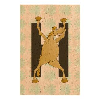 Pony Alphabet Monogram H Cork Paper Prints