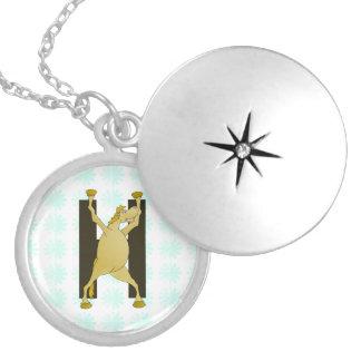 Pony Alphabet Monogram H Round Locket Necklace