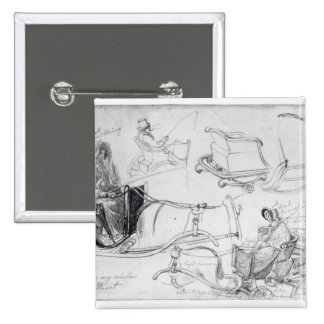 Pony and Traps on Francis Street, London, 1835 15 Cm Square Badge