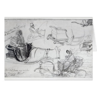Pony and Traps on Francis Street, London, 1835 Greeting Card