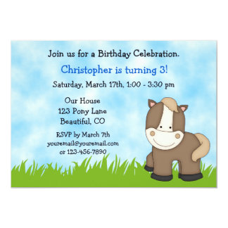Pony Birthday Invitation for Boys