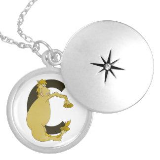 pony C monogram Round Locket Necklace