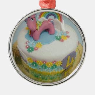 Pony cake 1 metal ornament