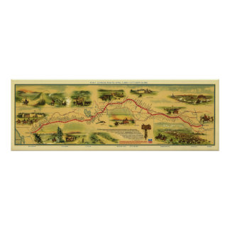 Pony Express Map by William Henry Jackson 1861 Poster