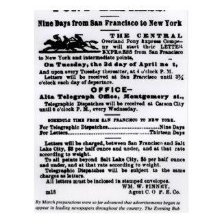 Pony Express, Nine Days Postcard