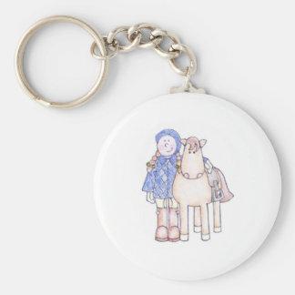 Pony Girl Basic Round Button Key Ring