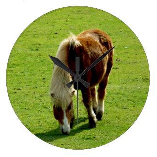 Pony Grazing in Field Large Clock