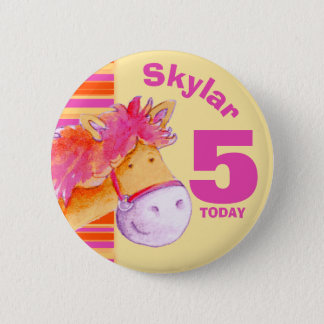 Pony horse 5th birthday pink yellow button