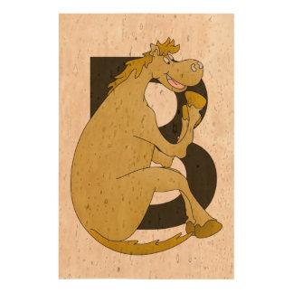 Pony Monogram Letter B Cork Paper Print